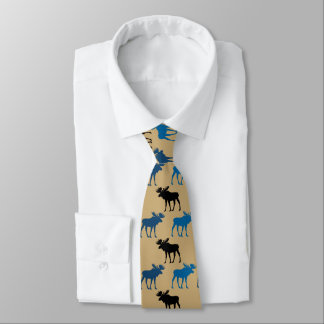 Blue Black Moose Pattern on Gold Tie