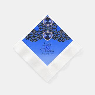 Blue & Black Ornate Hearts Pendant Wedding Paper Napkin