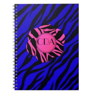 Blue/Black/Pink zebra Monogram Note/Binder Note Books