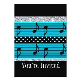 Blue & Black Polka Dot Diamonds & Musical Notes 13 Cm X 18 Cm Invitation Card
