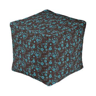 Blue & black pouf
