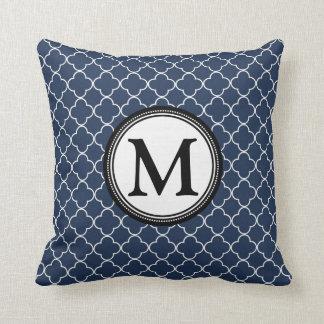 Blue Black Quatrefoil Monogram Decorative Pillow