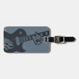 Blue & Black Rustic Guitar Player Luggage Tag