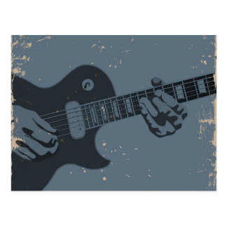 Blue & Black Rustic Guitar Player Postcard