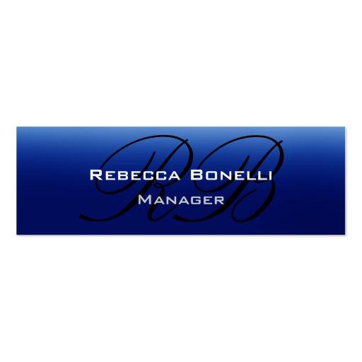 Blue Black Script Monogram Skinny Business Card