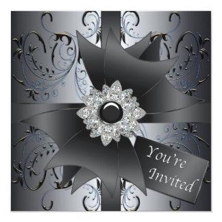 Blue Black Silver Black Tie Party Card