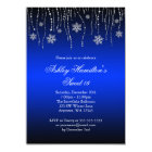 Blue Black Snowflakes Sweet 16 Winter Wonderland Card