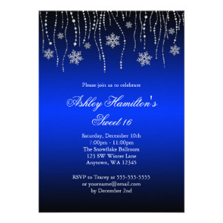 Blue Black Snowflakes Sweet 16 Winter Wonderland Personalized Invite