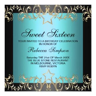 Blue & Black Star Sweet 16 Birthday Invitation