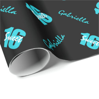 Blue Black Sweet 16 Personalized Wrapping Paper