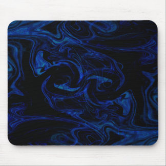Blue Black Swirl Abstract Smoky Cool Mouse Pad