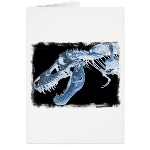 Blue & Black T-Rex X-Ray Bones Photo Greeting Cards