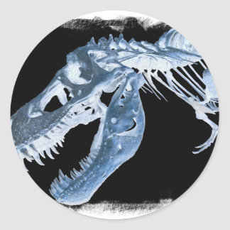 Blue & Black T-Rex X-Ray Bones Photo Round Sticker