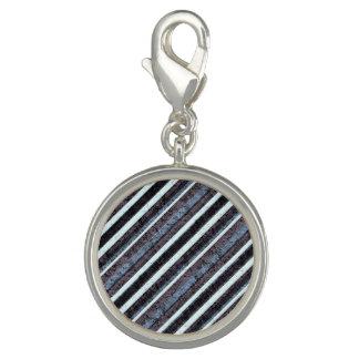 Blue Black Texture Stripe Round Charm