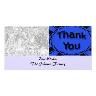 blue black Thank You Custom Photo Card