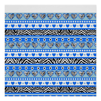 Blue black & white abstract zebra hearts and dots posters