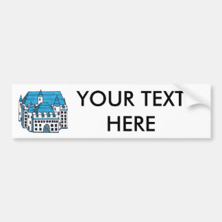 Blue Black & White Castle Drawing - Customize Text Bumper Sticker