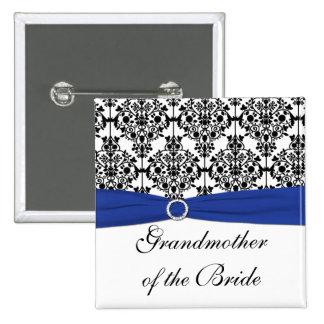 Blue Black White Damask Grandmother of the Bride 15 Cm Square Badge