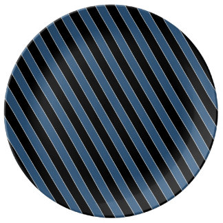blue black white diagonal stripes porcelain plates