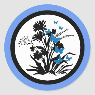 Blue black white flower butterfly envelope seals round sticker