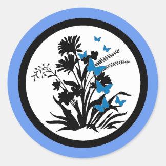 Blue black white flower butterfly envelope seals round sticker