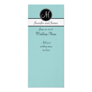 Blue Black White Monogram Wedding Menu 10 Cm X 24 Cm Invitation Card