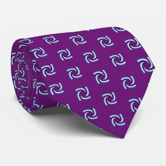 Blue Black White Pattern Purple Tie