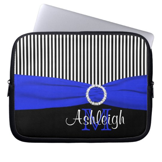 Blue Black White with FAUX Ribbon Laptop Sleeve