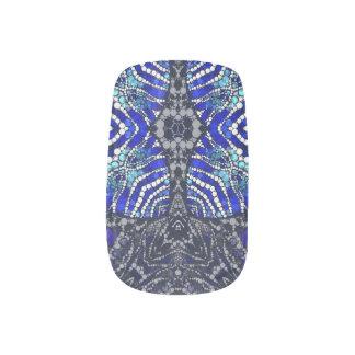 Blue Black Zebra Bling Minx Nail Art