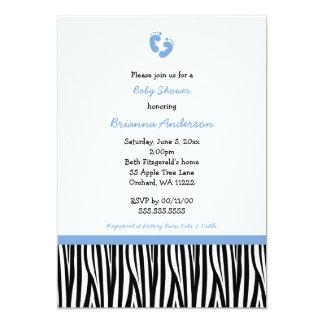 Blue Black Zebra Stripes Baby Shower Invites