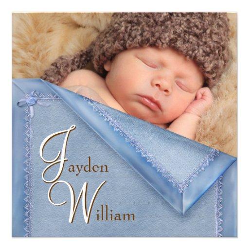 Blue Blanket Brown Boy Photo Birth Announcement