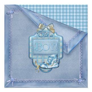 Blue Blanket Vintage Bootie Plaid Blue Brown Baby Custom Invite