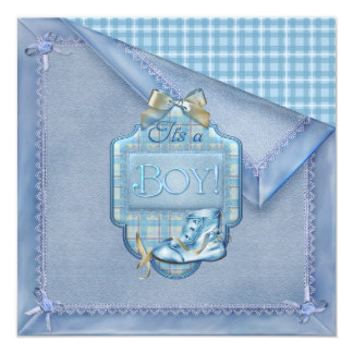 Blue Blanket Vintage Bootie Plaid Blue Brown Baby  5.25x5.25 Square Paper Invitation Card