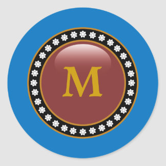 Blue Bling Bling Monogram Classic Round Sticker
