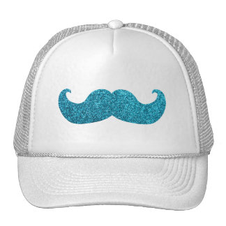 Blue Bling mustache  (Faux Glitter Graphic) Cap