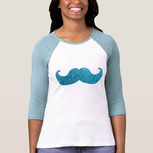 Blue Bling mustache  (Faux Glitter Graphic) T-shirt