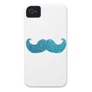 Blue Bling mustache  (Faux Glitter Graphic) white iPhone 4 Cases