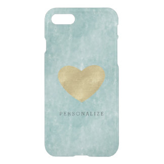 Blue Bliss Abstract Gold Heart iPhone 7 Case