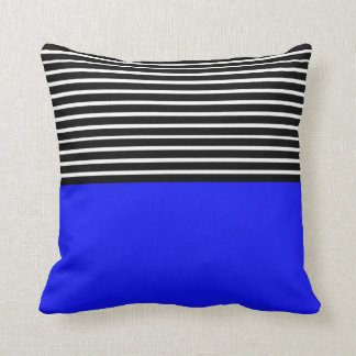 Blue Block Black White Stripes Cushion