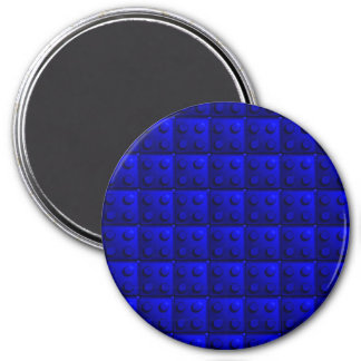 Blue blocks pattern 7.5 cm round magnet
