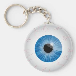 Blue Bloodshot Eyeball Basic Round Button Key Ring