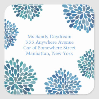 Blue Bloom Burst Address Wedding Seal Sticker