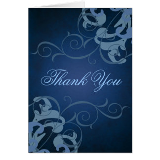 Blue & Blue Scroll Thank You Card