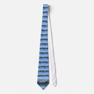 Blue boat in Blue water Tie