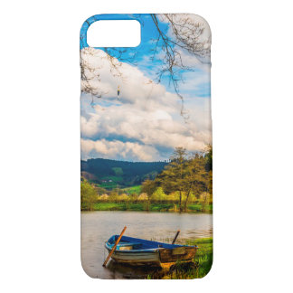Blue Boat on Lake in the Mountains Phone Case