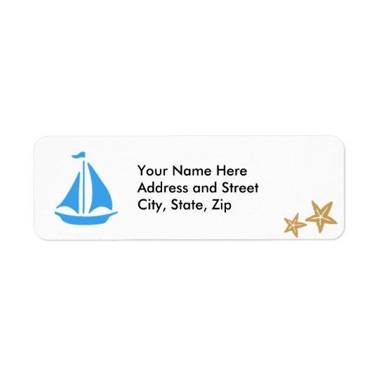 Blue Boat Return Address Label