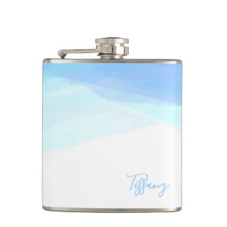 Blue Bohemian Watercolor Personalized Name Hip Flask
