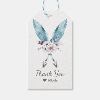 Blue Boho Bohemian Arrows Feather Floral Party Gift Tags