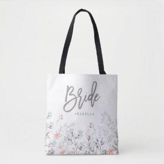 Blue Boho Botanical Wedding | Bride Tote Bag
