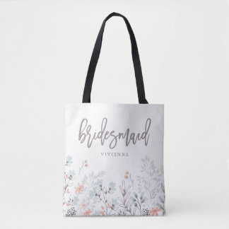 Blue Boho Botanical Wedding | Bridesmaid Tote Bag